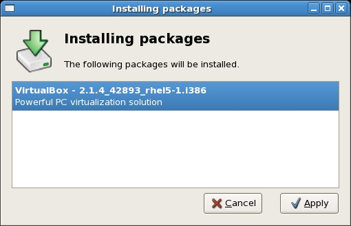 Installing the VirtualBox RPM package using the software installer on Red Hat based systems