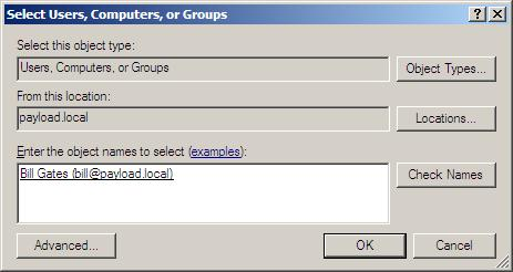 The Windows Server 2008 Select Users, Computers or Groups