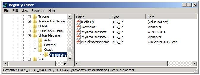 The Hyper-V Integration Services Key Exchange Parent Registry Entries