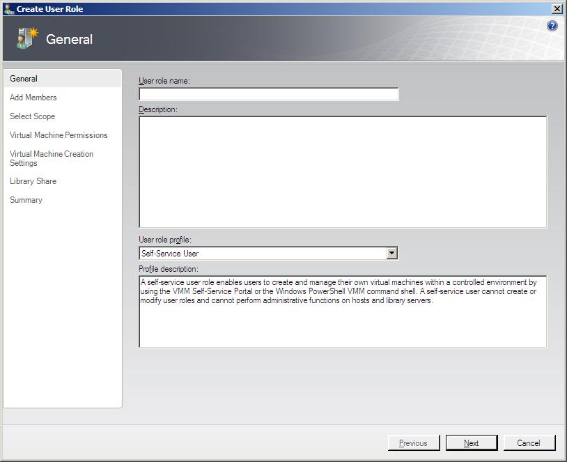 The VMM 2008 New User Role Wizard