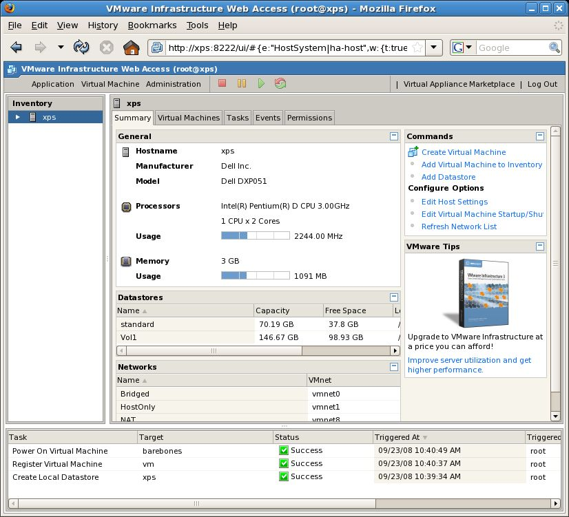 The VMware Server 2 VI Web Access Management Interface