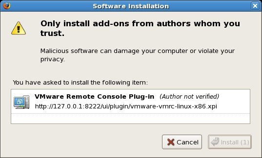 Firefox issues a warning prior to installing the VMware Remote Console Plug-in