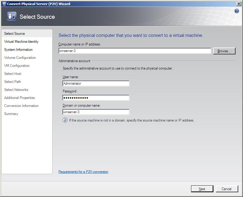 The VMM 2008 Convert Physical Server (P2V) Wizard