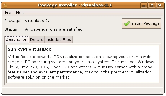 Installing VirtualBox with the Ubuntu Package Installer