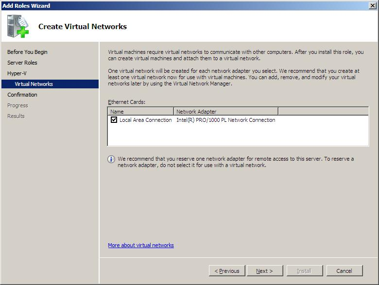 Selecting Network Adapters for the creation of Hyper-V virtual networks